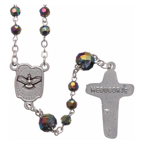Medjugorje rosary necklace in iridescent crystal 4 mm 2