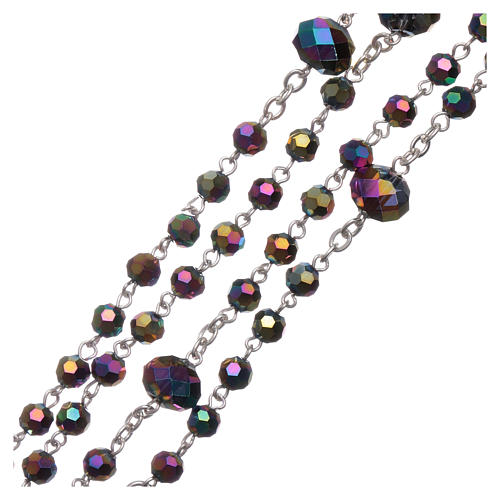 Medjugorje rosary necklace in iridescent crystal 4 mm 3