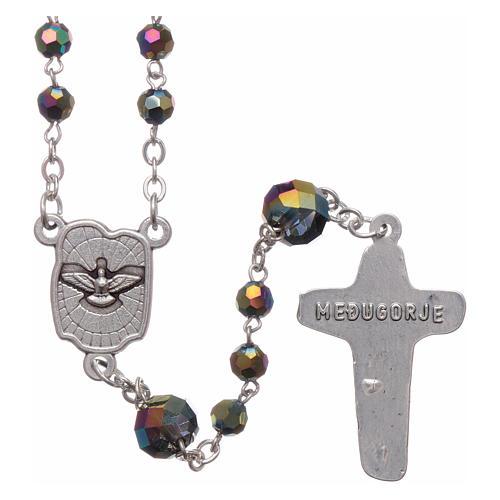 Rosario collar Medjugorje cristal iridescente 4 mm 2