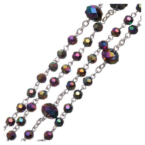 Rosario collana Medjugorje cristallo iridescente 4 mm 3