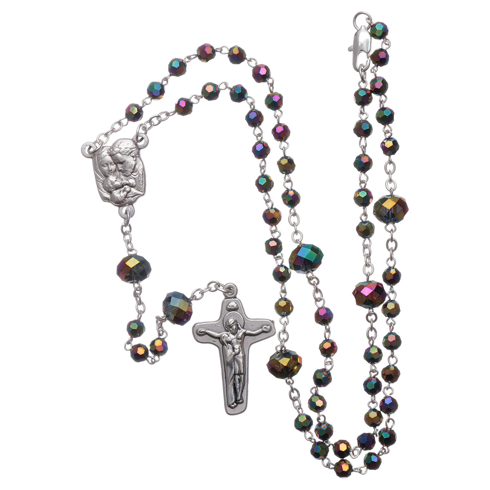 Medjugorje rosary necklace in iridescent crystal 4 mm 4