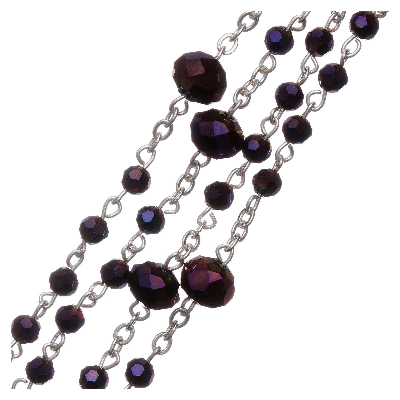 Rosario collana Medjugorje cristallo viola 4 mm 4