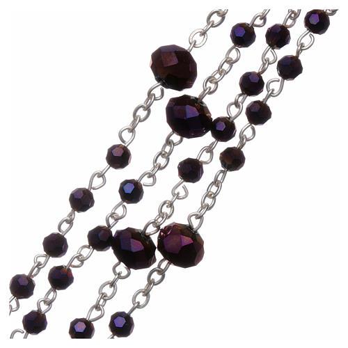 Rosario collana Medjugorje cristallo viola 4 mm 3