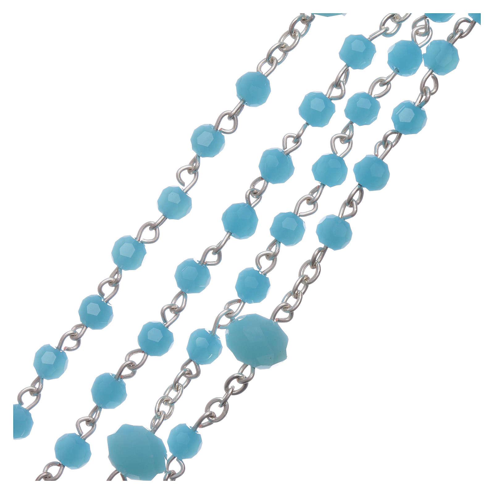 Chapelet collier Medjugorje cristal bleu clair 4 mm 4