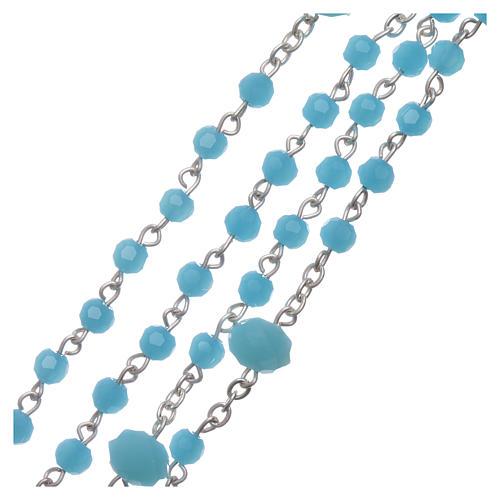 Chapelet collier Medjugorje cristal bleu clair 4 mm 3