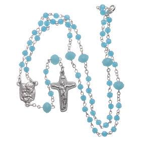 Rosario collana Medjugorje cristallo azzurro 4 mm s4