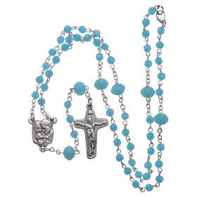 Rosario collana Medjugorje cristallo azzurro 4 mm s5