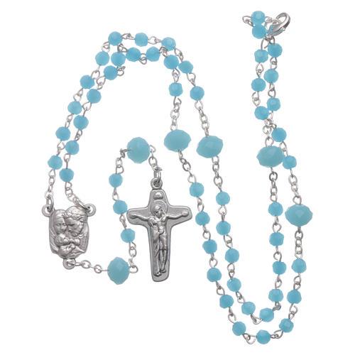 Rosario collana Medjugorje cristallo azzurro 4 mm 4