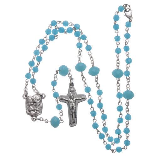 Rosario collana Medjugorje cristallo azzurro 4 mm 5