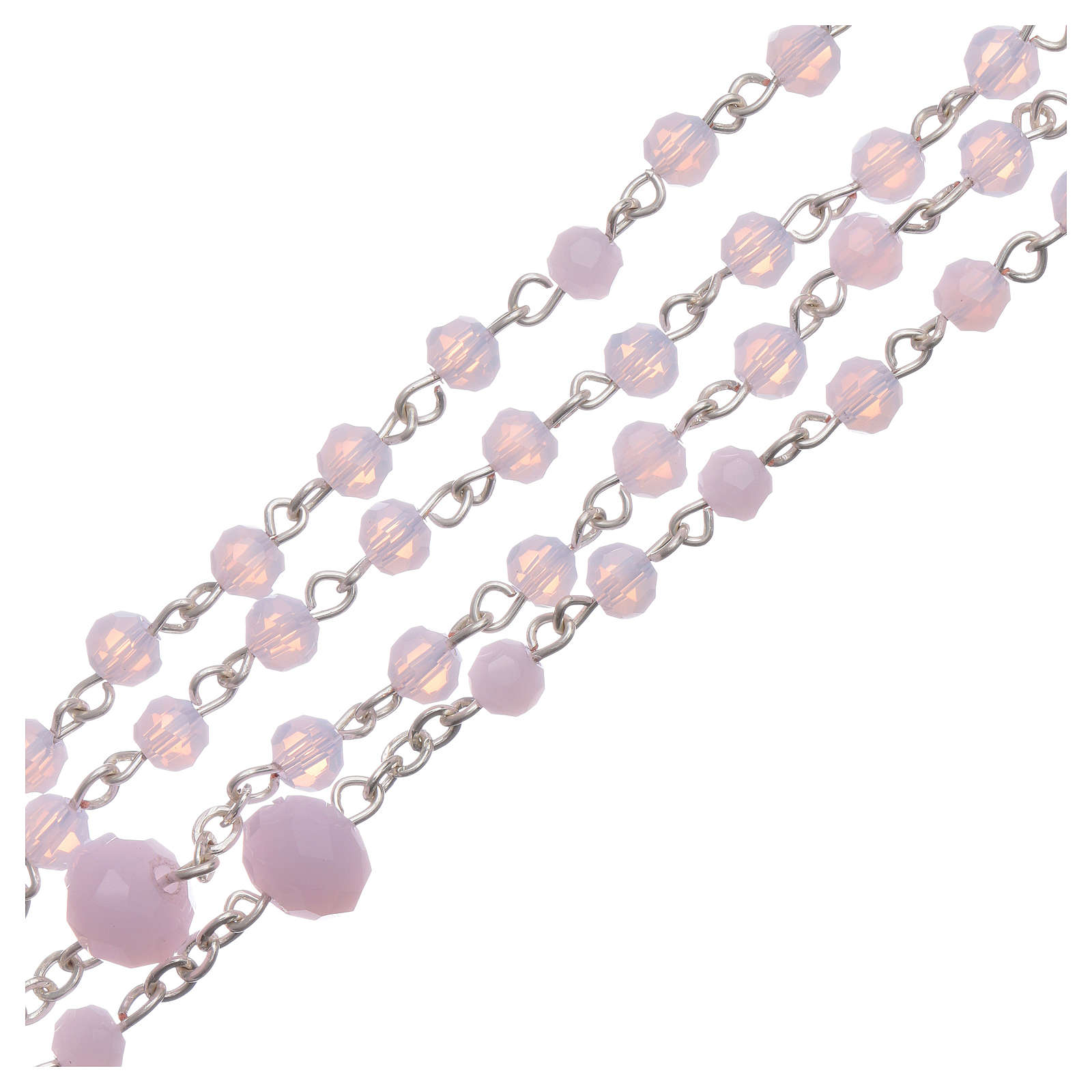 Medjugorje rosary necklace in pink crystal 4 mm 4