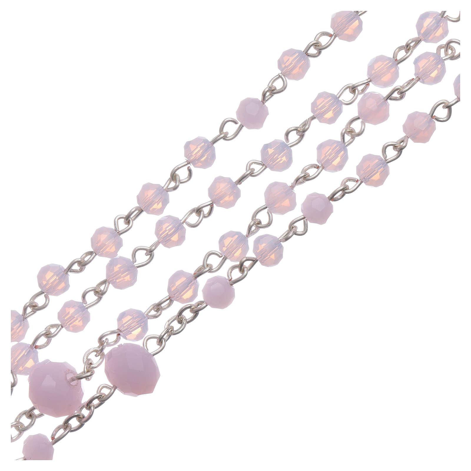 Rosario collana Medjugorje cristallo rosa 4 mm 4