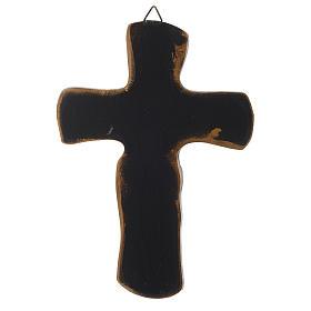 Crocifisso Medjugorje resina bronzato argentato 20 cm s2