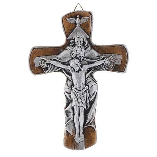 Crocifisso Medjugorje resina bronzato argentato 20 cm 1