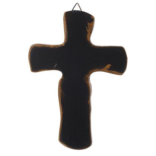 Crocifisso Medjugorje resina bronzato argentato 20 cm 2