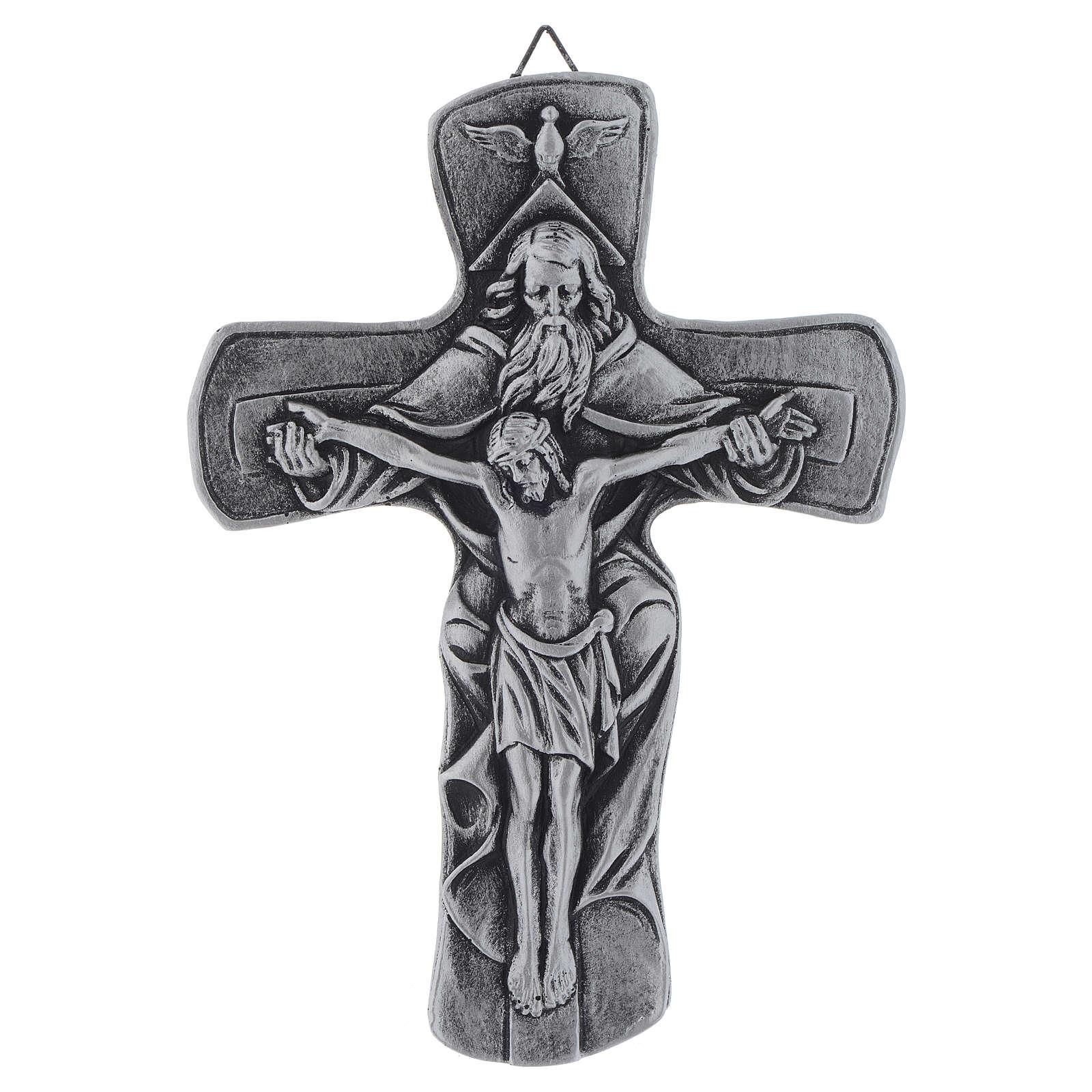 Crucifix Medjugorje résine argenté 20 cm 4