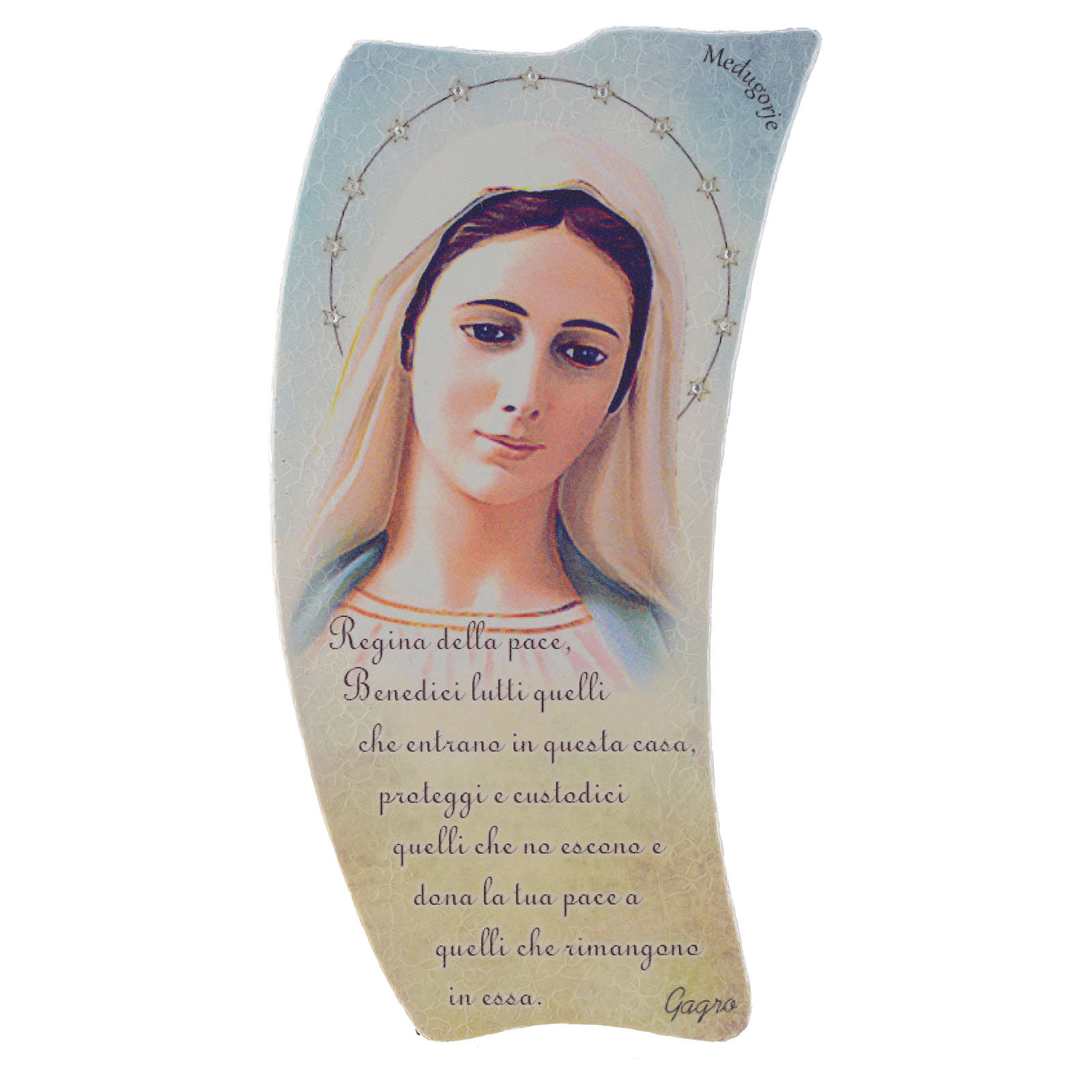 Immagine Madonna Medjugorje sasso preghiera italiano 20x10 cm 4