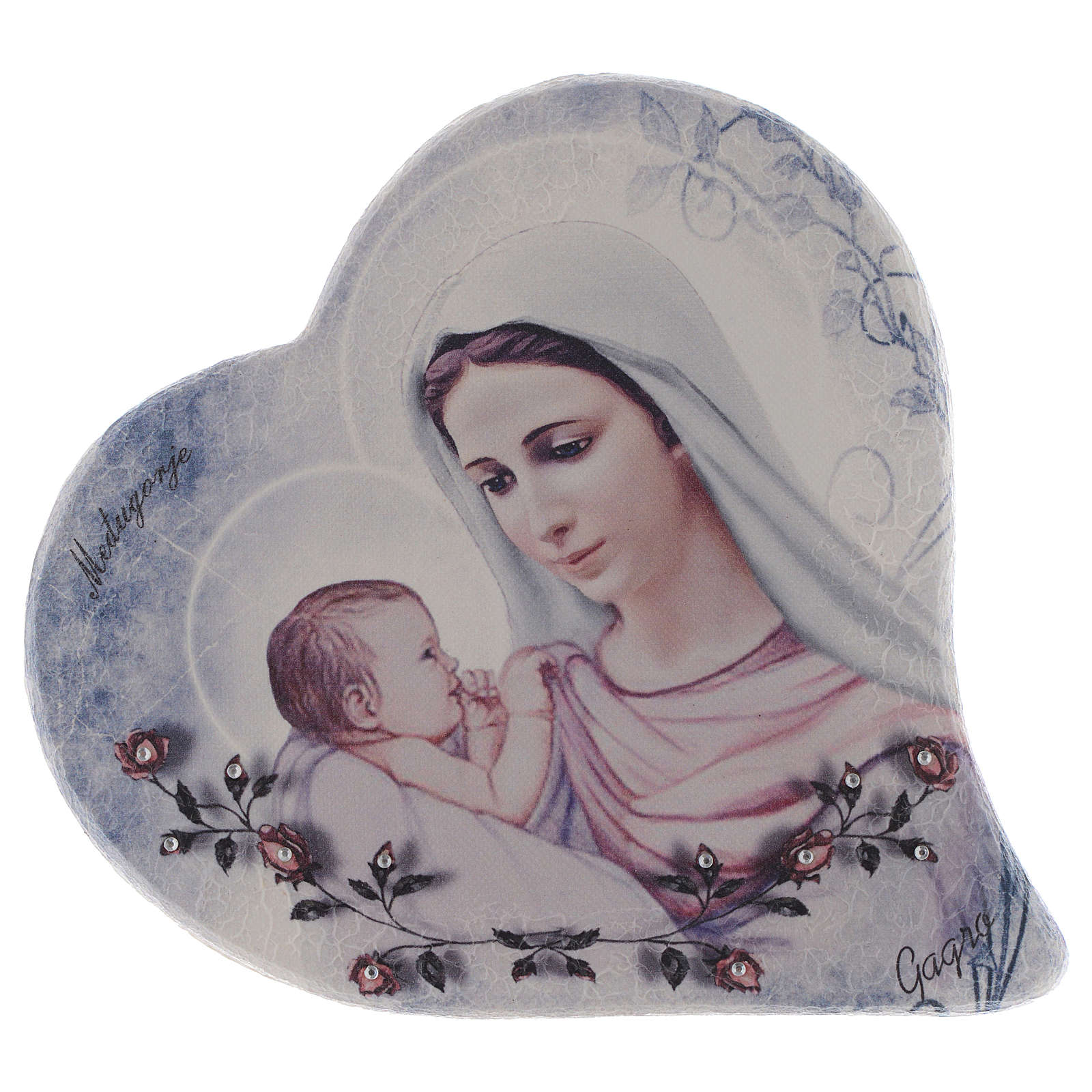 Our Lady of Medjugorje and child heart shaped in stone 15 cm 4