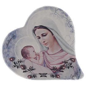 Our Lady of Medjugorje and child heart shaped in stone 15 cm s1