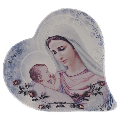 Our Lady of Medjugorje and child heart shaped in stone 15 cm 1