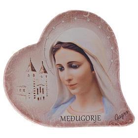 Immagine cuore sasso Madonna Medjugorje e chiesa h 15 cm s1