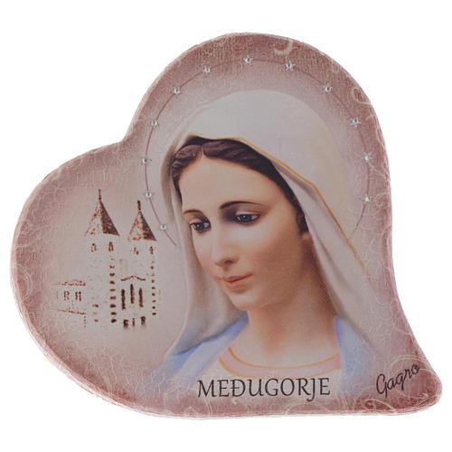 Immagine cuore sasso Madonna Medjugorje e chiesa h 15 cm 1