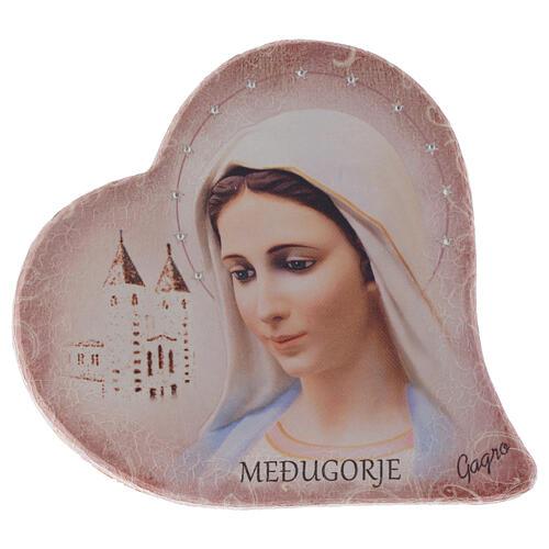 Imagem coração pedra Nossa Senhora Medjugorje e igreja h 15 cm