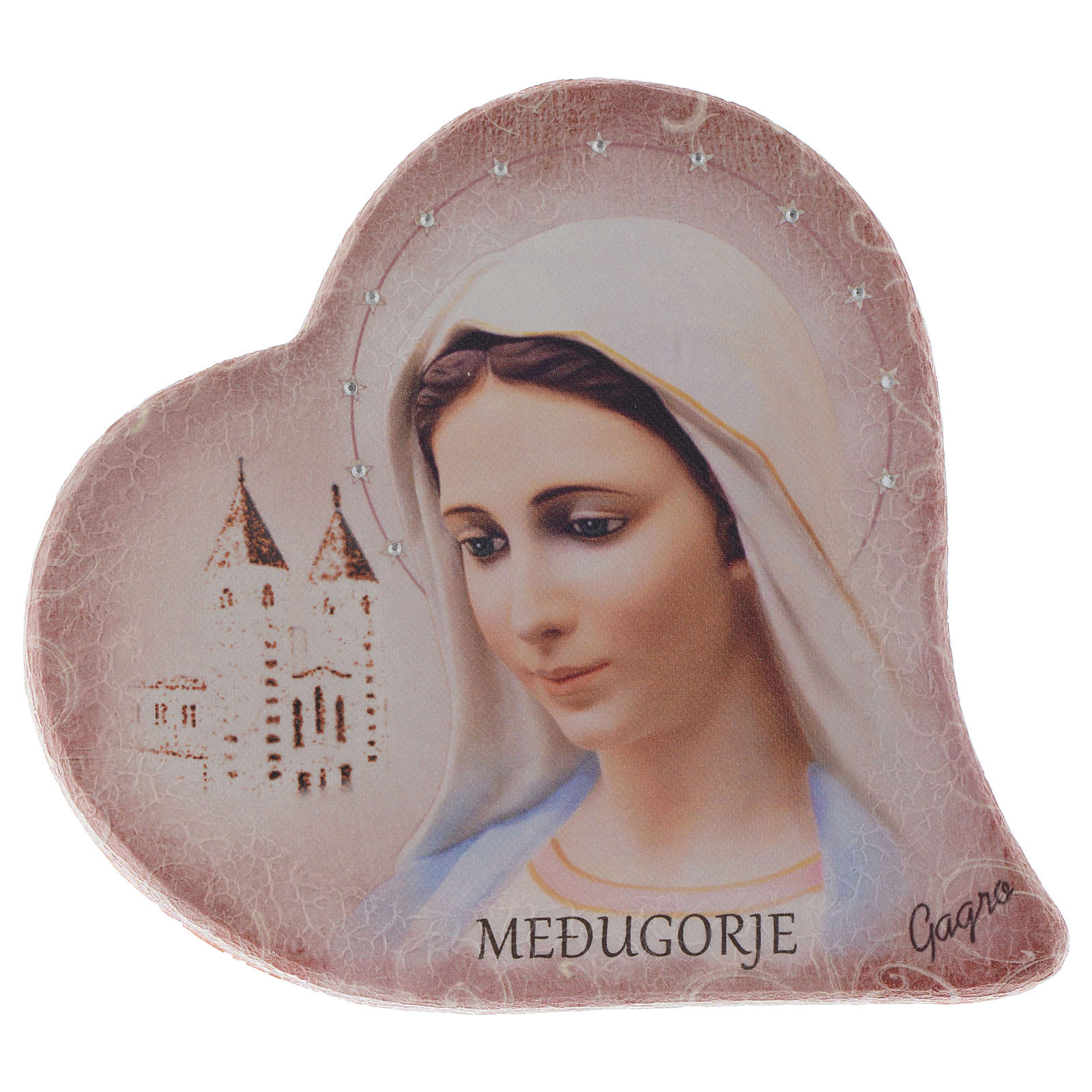 Our Lady of Medjugorje and church heart shaped in stone 15 cm 4