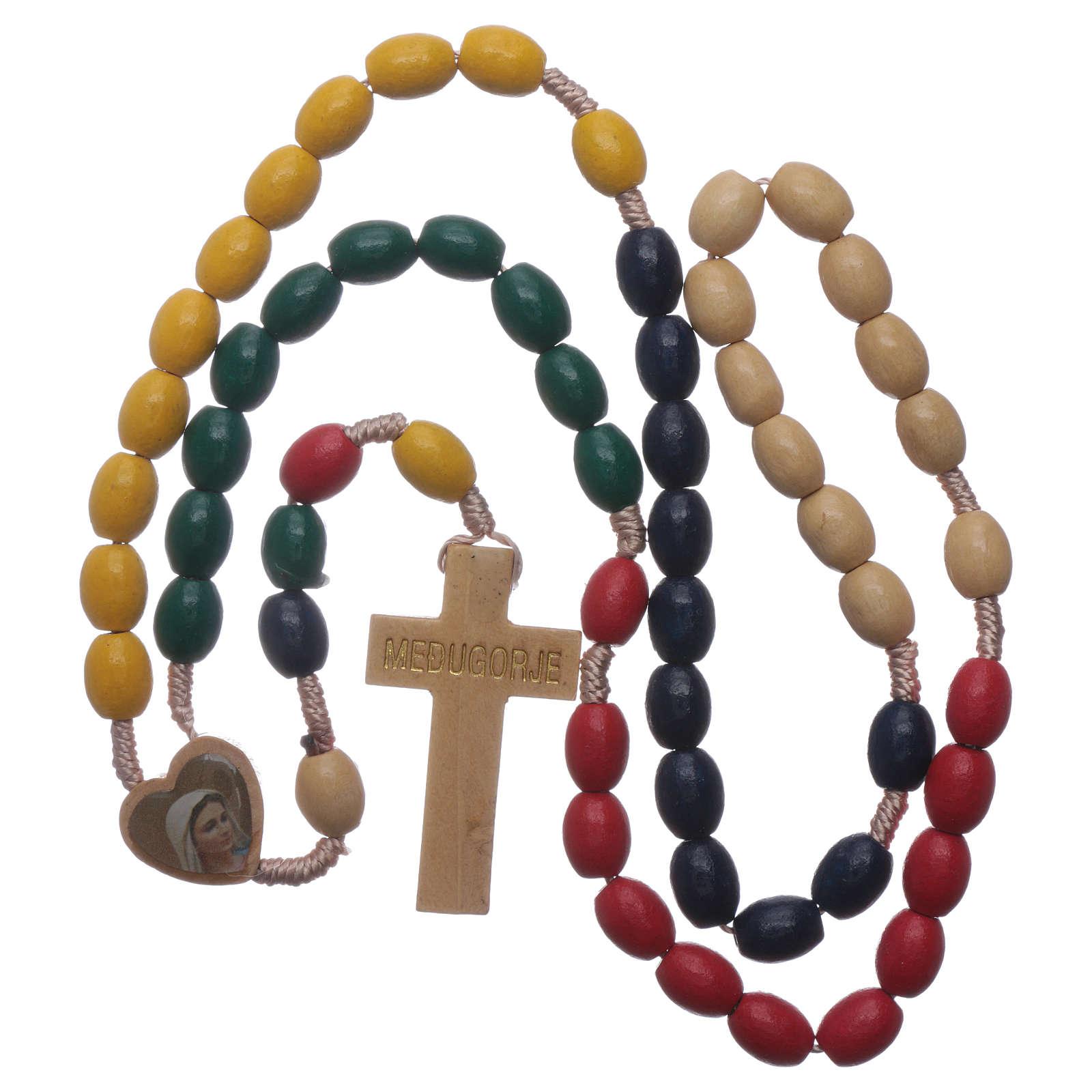 Terço Nossa Senhora Medjugorje madeira multicolore 4