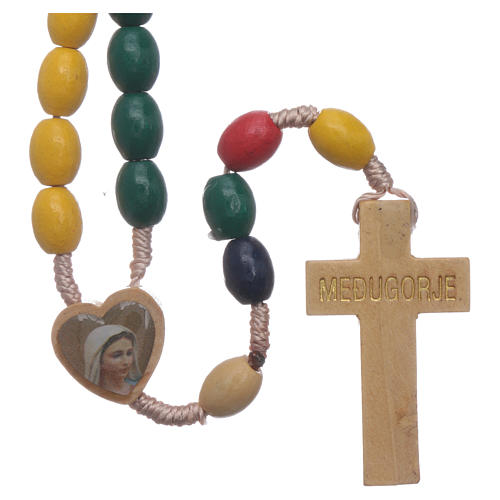 Terço Nossa Senhora Medjugorje madeira multicolore 1
