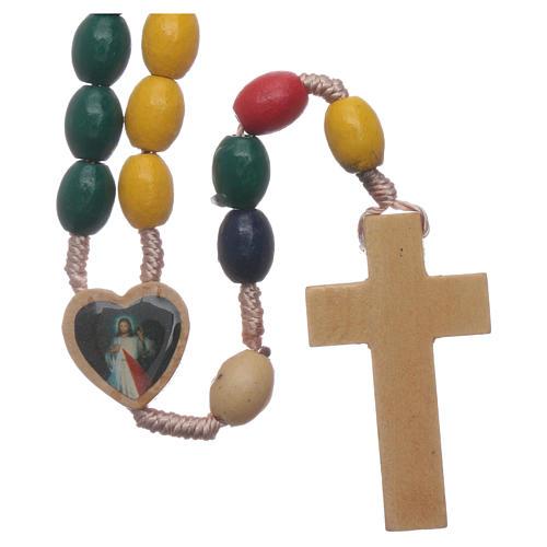 Terço Nossa Senhora Medjugorje madeira multicolore 2