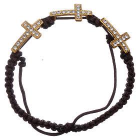 Bracelets, dizainiers: Bracelet Medjugorje 3 croix Swarovski corde noire