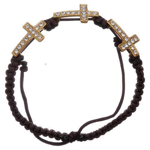 Bracciale Medjugorje 3 croci Swarovski corda marrone 1