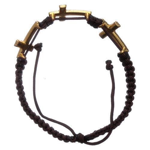 Bracciale Medjugorje 3 croci Swarovski corda marrone 2