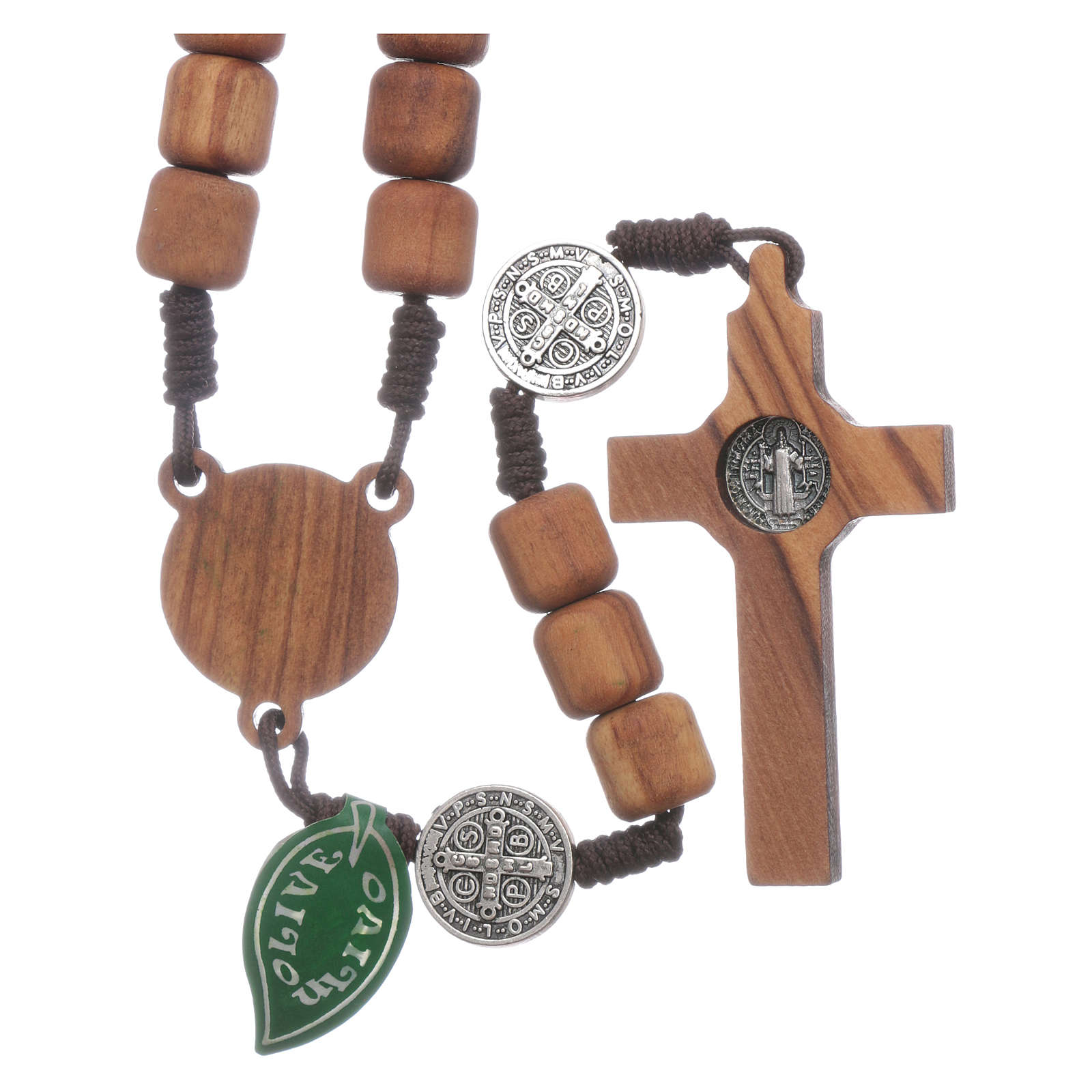 Medjugorje rosary in olive wood Saint Benedict 10 mm 4