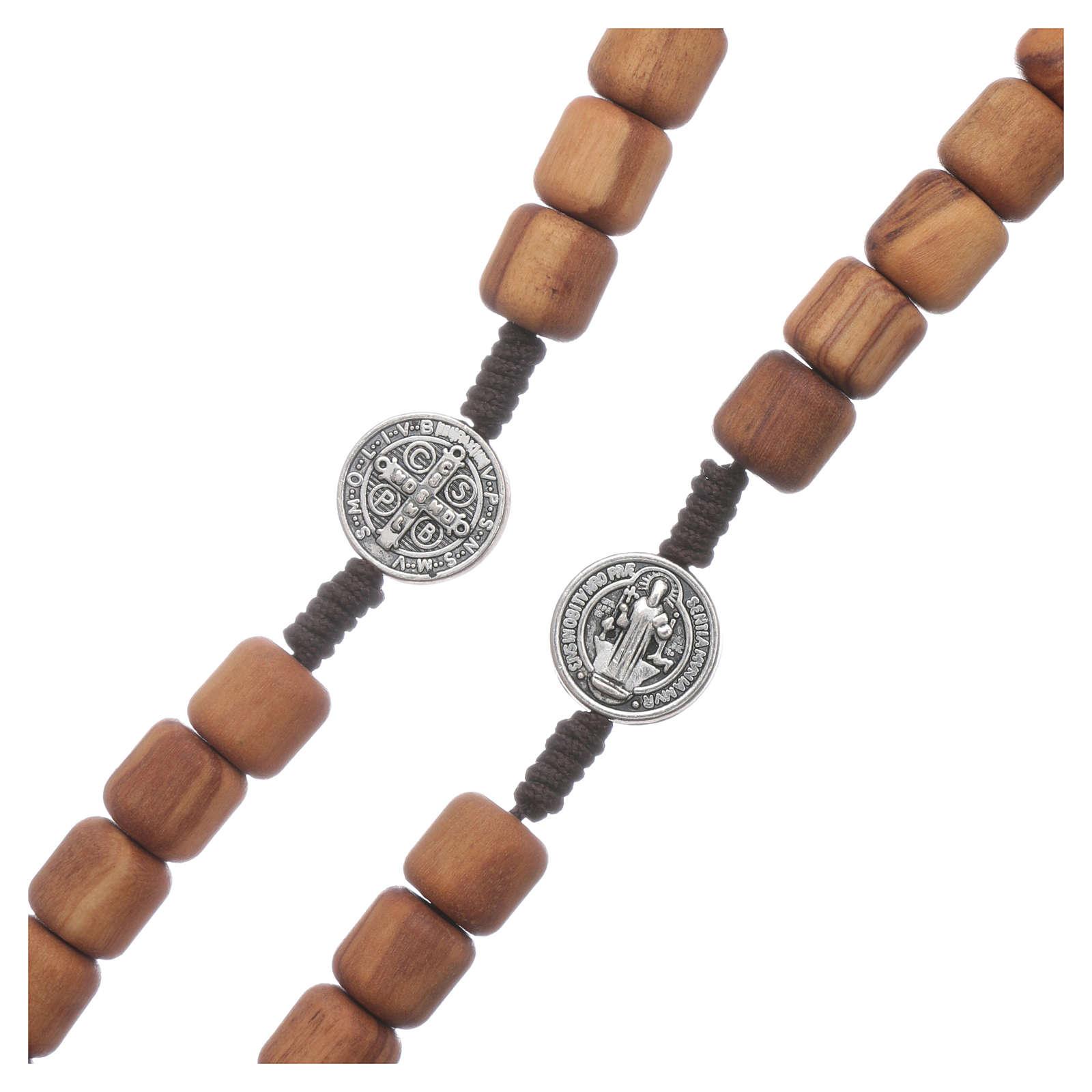 Różaniec Medjugorje drewno oliwne Święty Benedykt 10 mm 4