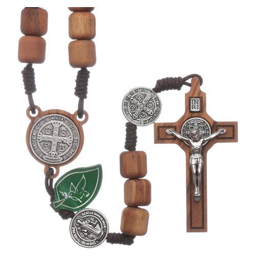 Medjugorje rosary in olive wood Saint Benedict 10 mm 1