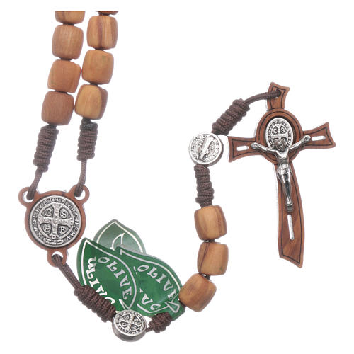 Medjugorje rosary in olive wood with crosses Saint Benedict 8 mm 1