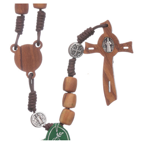 Medjugorje rosary in olive wood with crosses Saint Benedict 8 mm 2