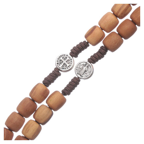 Medjugorje rosary in olive wood with crosses Saint Benedict 8 mm 3