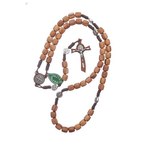 Medjugorje rosary in olive wood with crosses Saint Benedict 8 mm 4