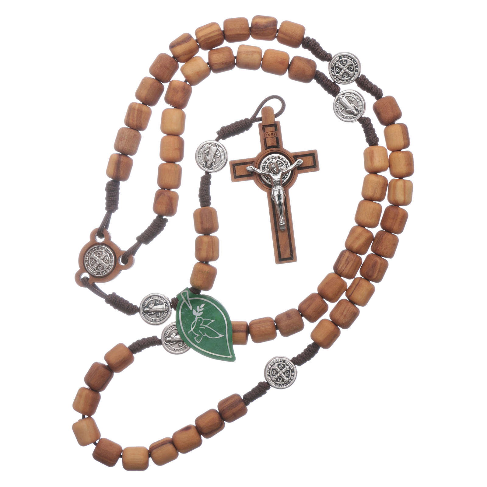 Medjugorje rosary in olive wood Saint Benedict 8 mm 4