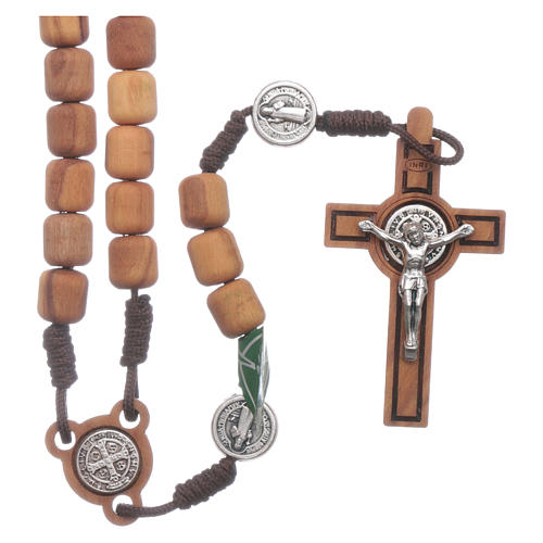 Medjugorje rosary in olive wood Saint Benedict 8 mm 1