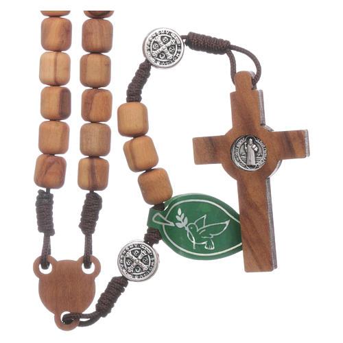 Medjugorje rosary in olive wood Saint Benedict 8 mm 2