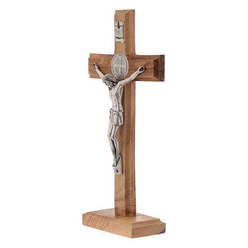 Crocifisso da tavolo Medjugorje ulivo h 21 cm 2