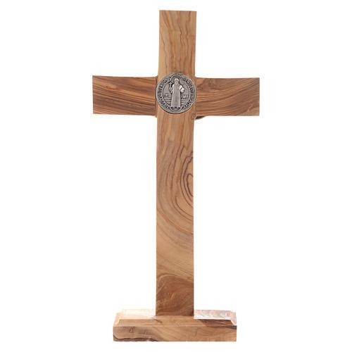 Crocifisso da tavolo Medjugorje ulivo h 21 cm 3