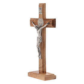 Medjugorje table crucifix in olive wood 21 cm s2