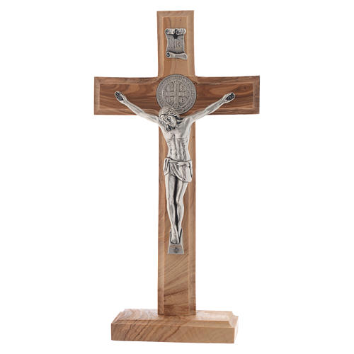 Medjugorje table crucifix in olive wood 21 cm 1