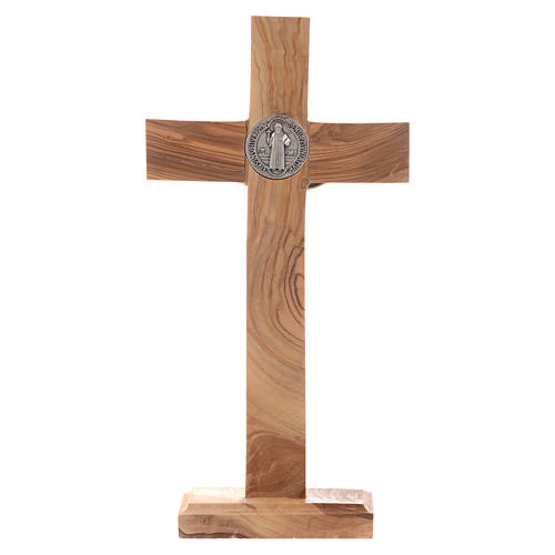 Medjugorje table crucifix in olive wood 21 cm 3