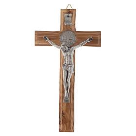 Crocifisso ulivo Medjugorje san Benedetto h 19 cm s1