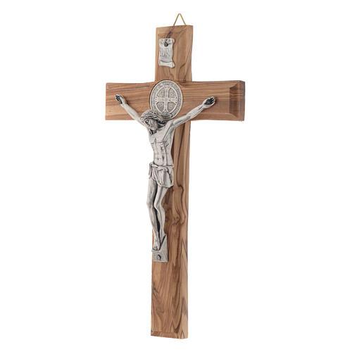 Crocifisso ulivo Medjugorje san Benedetto h 19 cm 2
